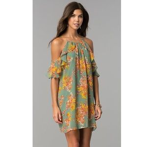 AsU Wish Floral Cold Shoulder Flutter Sleeve Dress